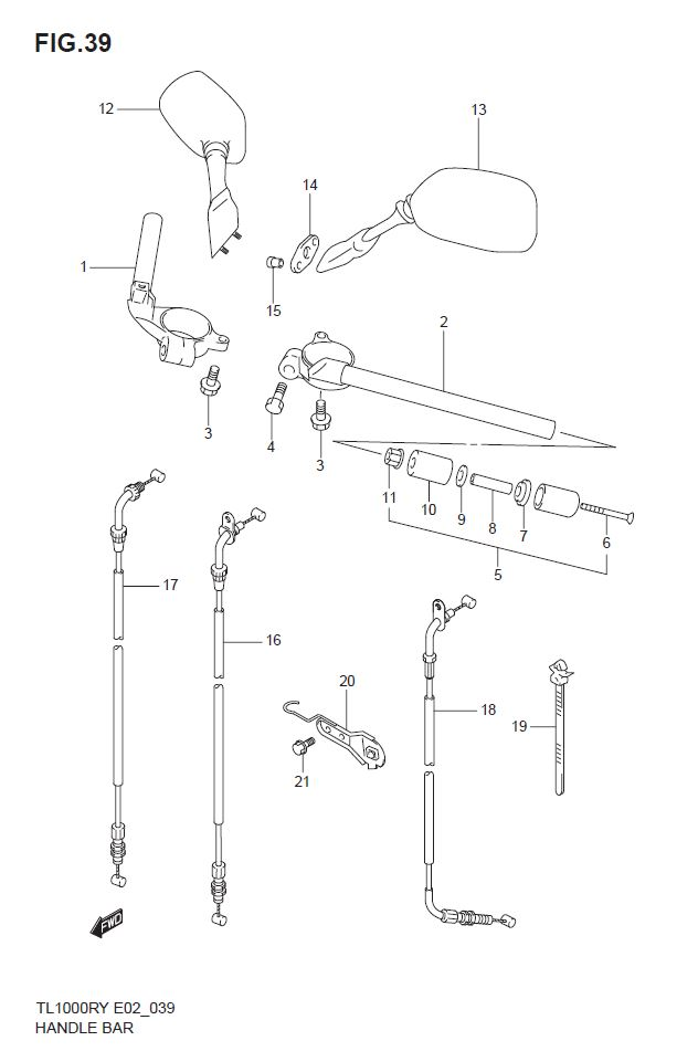 Handlebar - Accident  Suspension  Brakes And Wheels - Tl1000ry - Classics