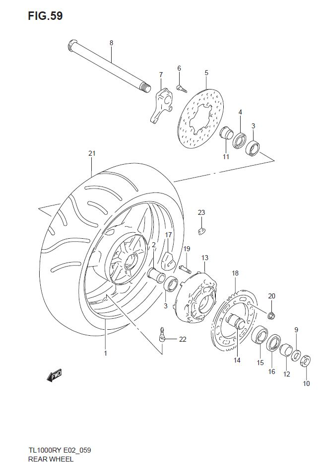 Rear Wheel - Accident  Suspension  Brakes And Wheels - Tl1000ry - Classics