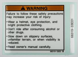 LABEL, WARNING SAFETY (ENGLISH)