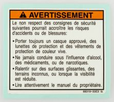 LABEL, WARNING SAFETY (FRENCH)