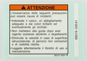 LABEL, WARNING SAFETY (ITALIAN)