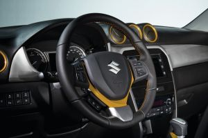 Leather Steering Wheel Yellow Stitching