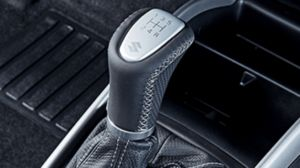 Leather gear knob - black leather